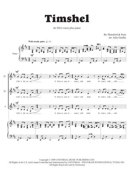 Timshel (Mumford & Sons) for SSA trio plus piano