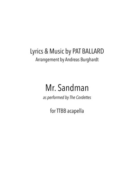 Mister Sandman (for Choir TTBB acapella)