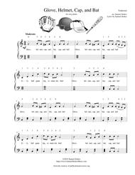 Glove, Helmet, Cap, and Bat (baseball, softball, or t-ball song!) - for easy piano (optional voice)
