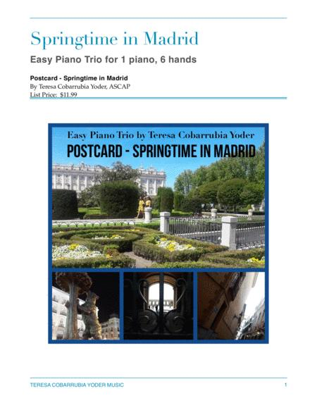 Springtime in Madrid - Easy Piano Trio for 1 Piano, 6 Hands by Teresa Cobarrubia Yoder
