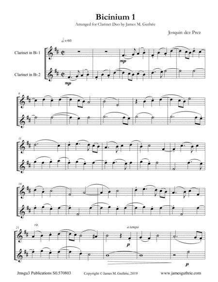 Josquin: Bicinium 1 for Clarinet Duo