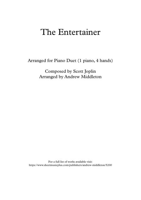 The Entertainer arranged for Piano Duet