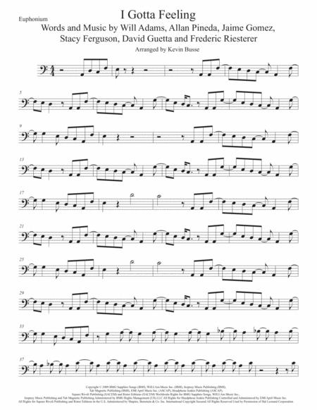 I Gotta Feeling, Euphonium (Easy key of C)