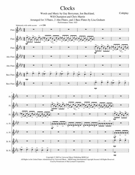 Coldplay: Clocks for Flute Choir
