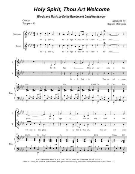Holy Spirit, Thou Art Welcome (for 2-part choir - (Soprano and Tenor)