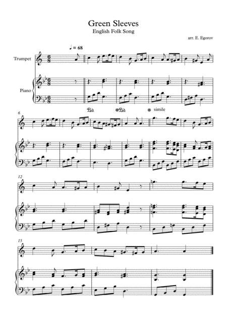 Green Sleeves, English Folk Song, For Trumpet & Piano