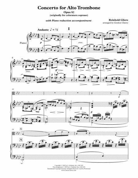 Concerto for Alto Trombone with Piano accompaniment reduction