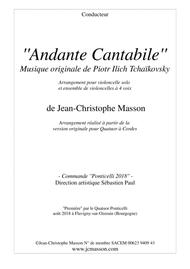 Andante Cantabile by Tchaïkovsky for Cello solo and 4 celli or more --- Score and Parts --- arr.JCM2018