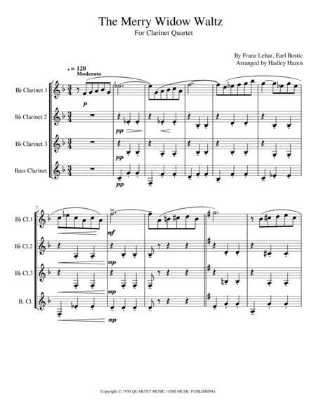 Merry Widow Waltz for Clarinet Quartet