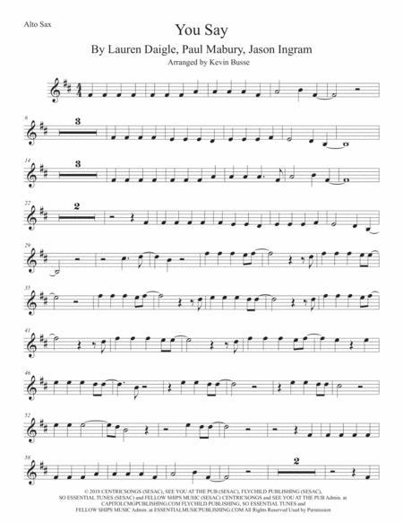You Say, Alto Sax (Original key)