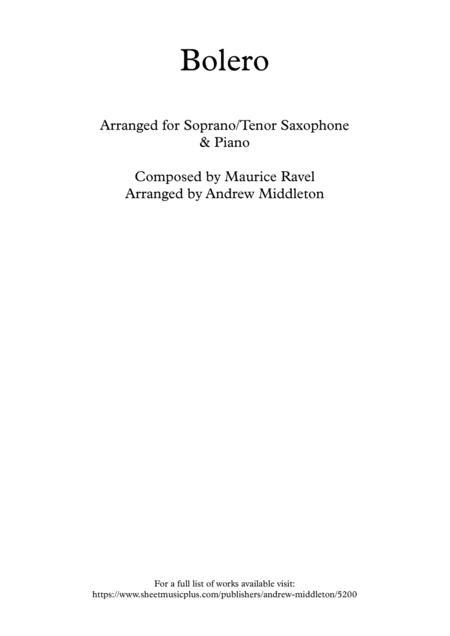 Bolero arranged for Soprano Saxophone & Piano