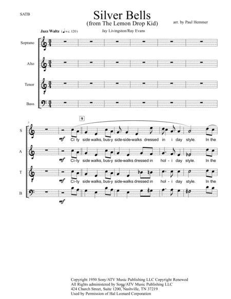 Silver Bells SATB jazz choir - chorus only