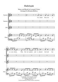 Hallelujah by Leonard Cohen SSA & Piano