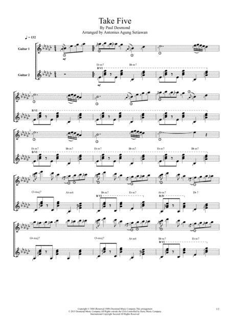 Take Five (Duet Guitar Score)