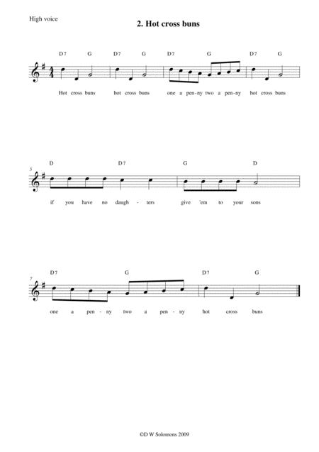 Hot cross buns arranged for high voice, medium voice or low voice with guitar chord accompaniments