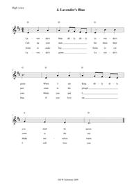 Lavender's blue arranged for high voice, medium voice or low voice with guitar chord accompaniments