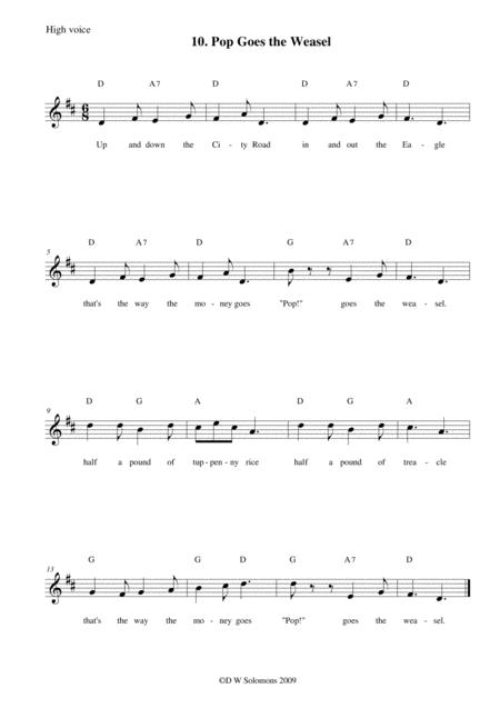 Pop goes the weasel arranged for high voice, medium voice or low voice with guitar chord accompaniments