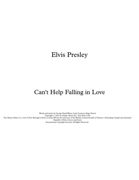 Can't Help Falling In Love - Elvis Presley Easy Piano & Vocal Score