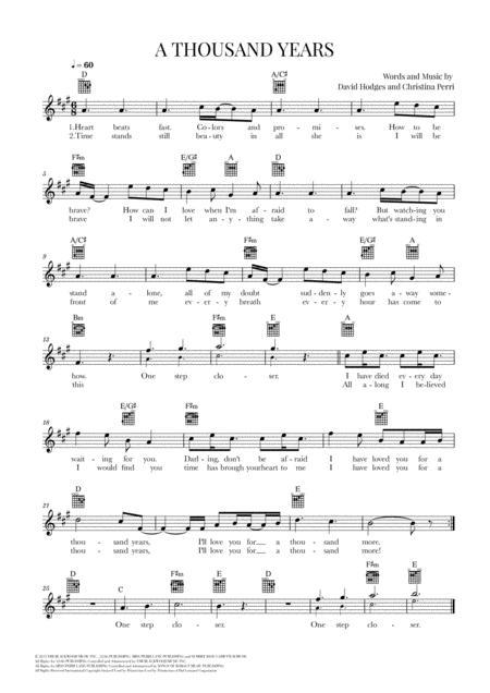 A Thousand Years (Christina Perri) - Guitar Lead Sheet - A major