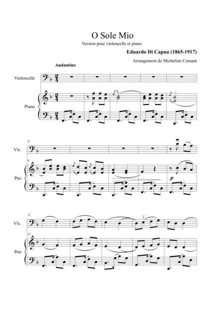 Di Capua-O Sole Mio for cello & piano