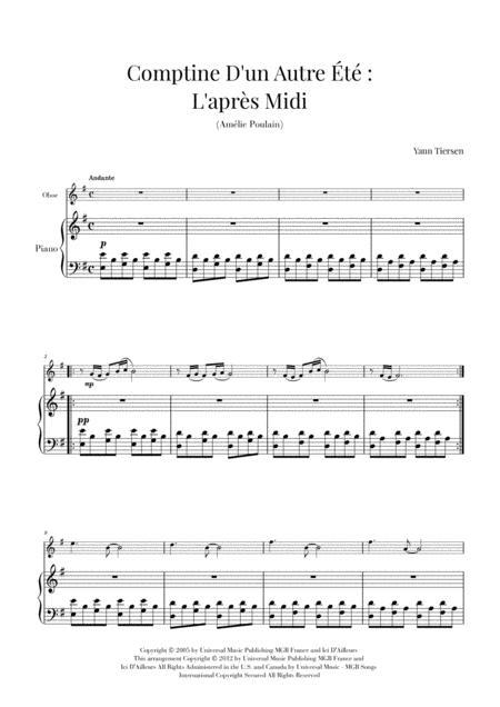 Comptine D'un Autre Été: L'après-midi (Yann Tiersen) - Oboe and Piano