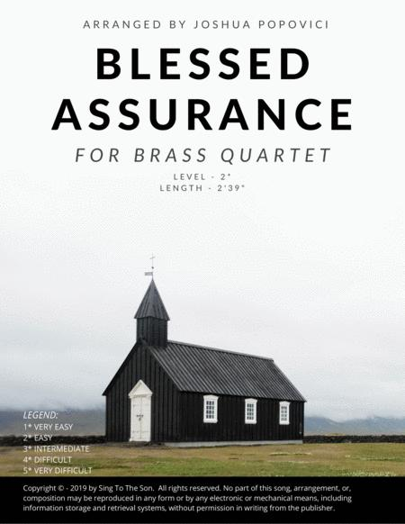 Blessed Assurance - Brass Quartet For Trumpet and Trombone (Easy) Score And All Part Included