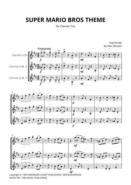 Download Super Mario Bros Theme For Clarinet Trio Sheet