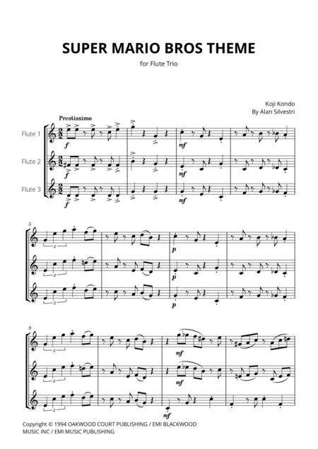 Super Mario Bros Theme For Flute Trio By Digital Sheet Music For Score Set Of Parts Download Print H0 579287 Sc001008678 Sheet Music Plus