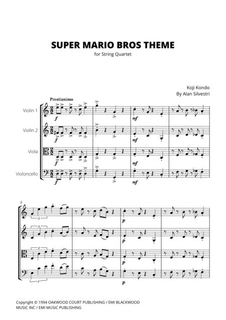 Super Mario Bros Theme for String Quartet