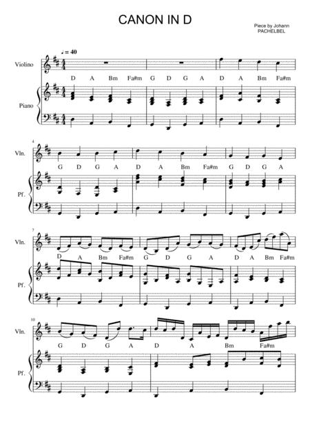 Pachelbel - Canon in D (violin and piano sheet)