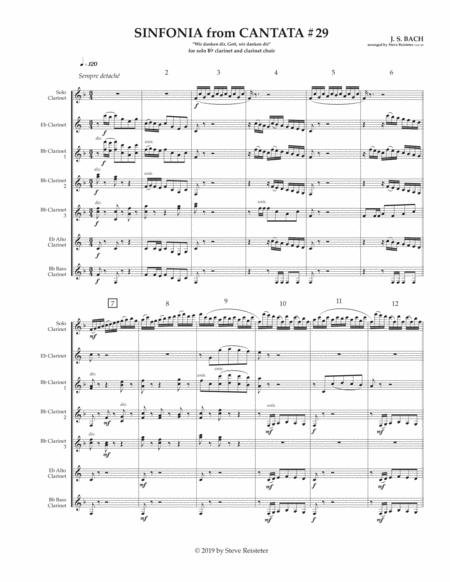 Bach, J.S. (arr. Reisteter):  Sinfonia to Cantata #29 for Solo Clarinet and Clarinet Choir