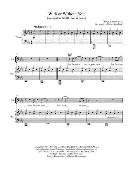 With Or Without You (U2 - SATB choir)
