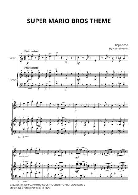 Download Super Mario Bros Theme For Violin And Piano Sheet