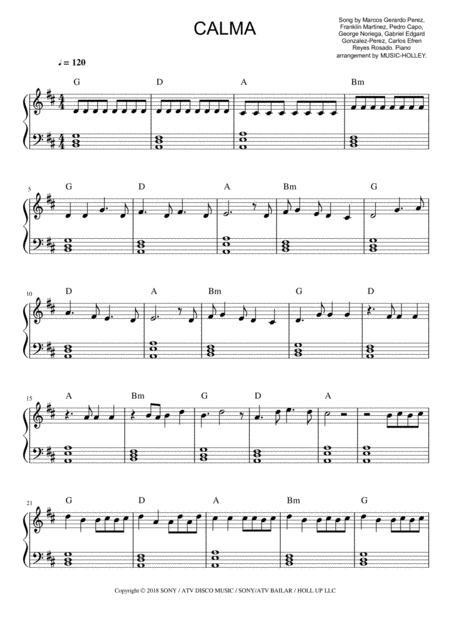 Pedro Capó, Farruko - Calma (easy piano sheet)