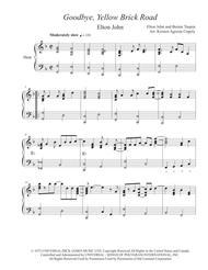 Goodbye Yellow Brick Road - Elton John (for solo harp)