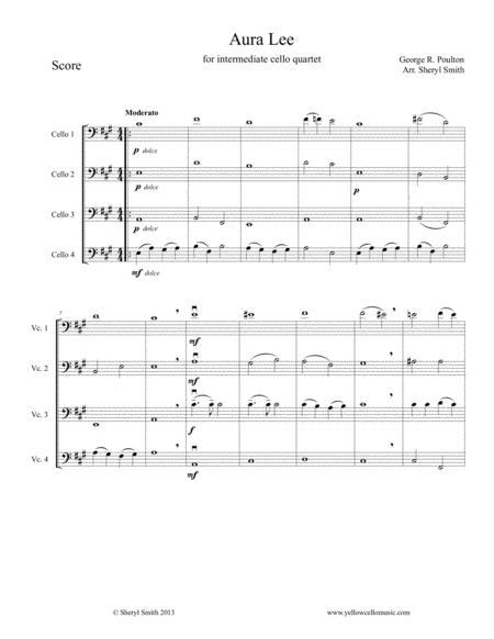 Aura Lea, arranged for four cellos / cello quartet