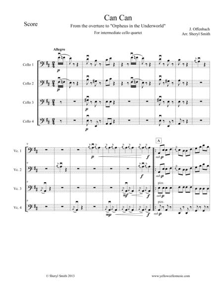 Can-Can for Intermediate Cello Quartet (four cellos) from Orpheus in the Underworld