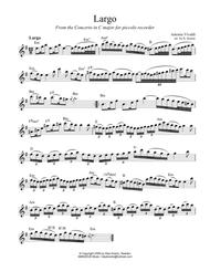 Largo from Concerto in C, RV 443, Lead Sheet, melody with guitar chords