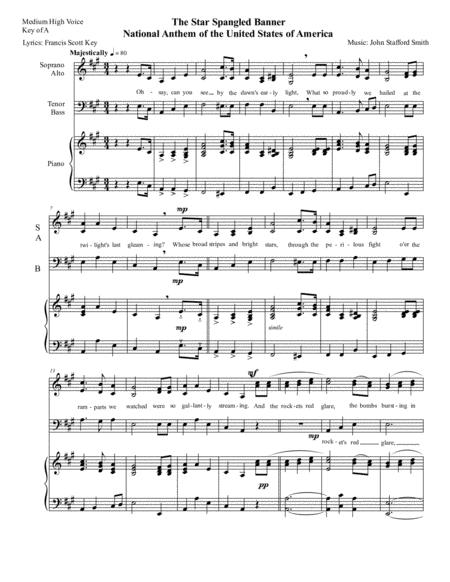 National Anthem The Star Spangled Banner Us National Anthem Easy 3 Part Sab Chorus Arrangement In Medium High Key Of A By Words By Francis Scott Key And Muisc By John