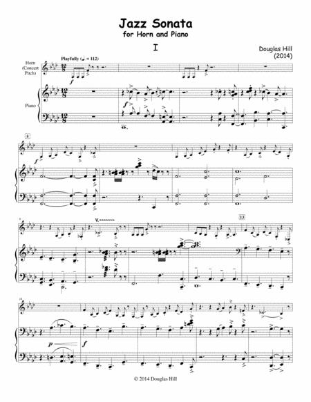 Hill, Douglas.  Jazz Sonata for Horn and Piano.
