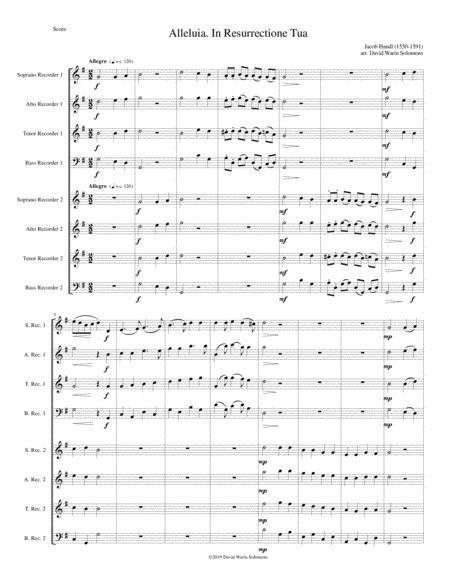 Alleluia In Resurrectione Tua arranged for recorder octet