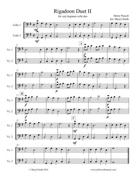 Rigadoon for beginner cello duo, cello duet (two cellos)