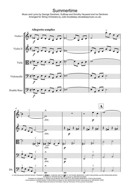 Summertime for String Orchestra - Score and Parts