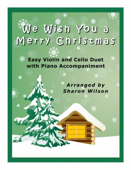 We Wish You a Merry Christmas (Easy Violin and Cello Duet with Piano Accompaniment)