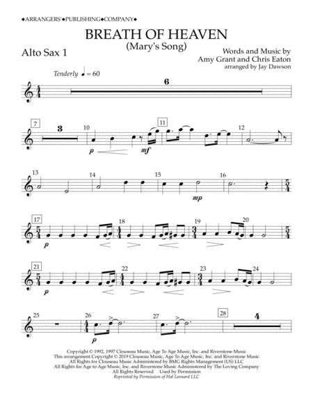 Breath of Heaven (Mary's Song) (arr. Jay Dawson) - Alto Sax 1