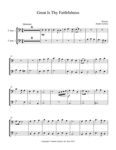 Great Is Thy Faithfulness (bass C instrument duet, parts only)