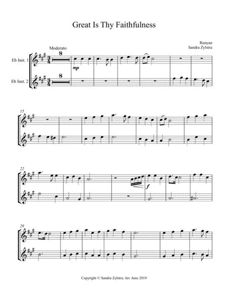 Great Is Thy Faithfulness (treble Eb instrument duet, parts only)
