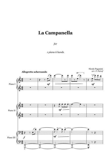 PAGANINI - La Campanella - 1 piano 6 hands, score and parts