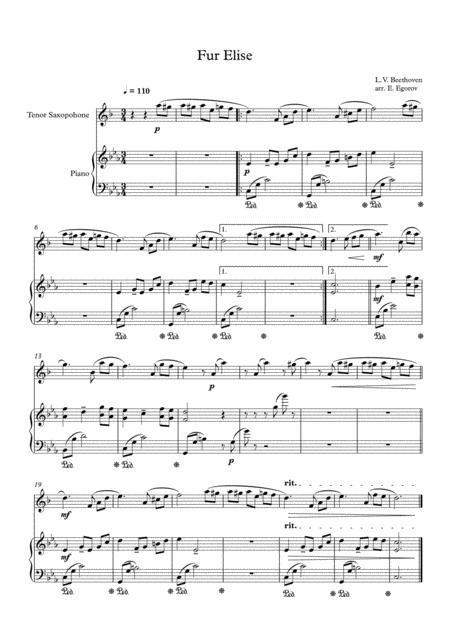 Fur Elise, Ludwig Van Beethoven, For Tenor Saxophone & Piano