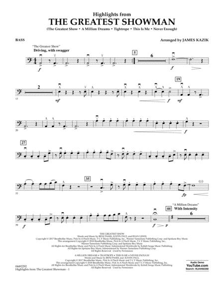 Highlights from The Greatest Showman (arr. James Kazik) - Bass